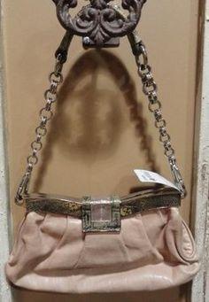 Prada Designer Handbag - Buff Leather Clutch with chain link strap and snakeskin trim. Hard clasp.    $289.00