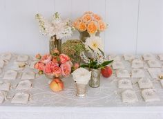 peaches and garden roses