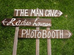 rustic 3 Barnwood Wedding Signs w/ Stakes  by primitivearts, $45.00