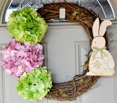 easter bunny and hydrangea wreath. #spring.