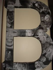 "Collage photo letter - such a cool way to put photos up.  Would be cool with the word ""FAMILY"" and include all kinds of pics!"