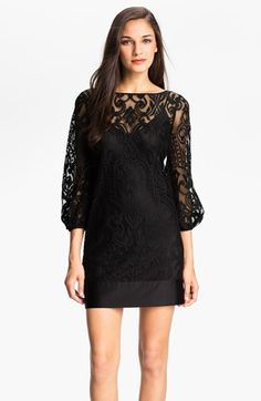 Laundry by Shelli Segal Blouson Sleeve Lace Shift Dress (Regular & Petite) available at #Nordstrom