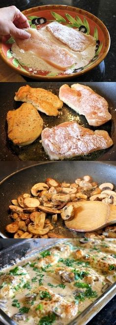Chicken Gloria Casserole 3 skinless boneless chicken breasts, trimmed and cut in half lengthwise Salt Pepper 1/3 cup Gold Medal® all-purpose flour 3 tablespoons vegetable oil 2 tablespoons butter 1 container (8 oz) sliced fresh mushrooms 1/2 cup cream sherry wine 1 can (18 oz) Progresso® creamy mushroom soup 6 slices Muenster cheese 3 tablespoons chopped fresh parsley