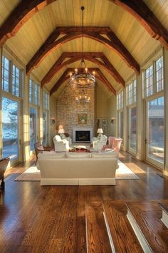 living rooms, design homes, open spaces, dream, design interiors, high ceilings, beam, hous, vaulted ceilings