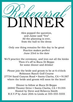I love this rehearsal dinner invitation! Such a cute poem!!