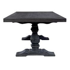 Black salvage dining table, carved trestle design, new charcoal color, black with grey grain