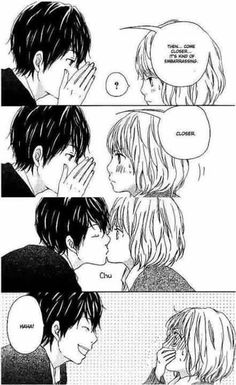 Omg I swear I read this one but I can't remember what it's called. I read so many... so cute. Anim Coupl, Anime Couples Drawings, Cute Anime Couples Kissing, Coupl Animemanga, Animanga Mania, Anime Manga Couples, Oval Trap, Anime Couples Cute, Kisses