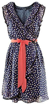 polka dotted wrap dress. I love polka dots!