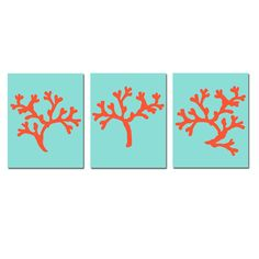 Coral Trio - Set of Three 8 x 10 Coordinating Coral Silhouette Prints $55.00, via Etsy. Colors are customizable