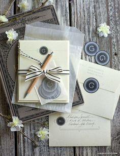 Free Vintage printables set: Monogram Note Cards, Envelopes & monogram stickers.