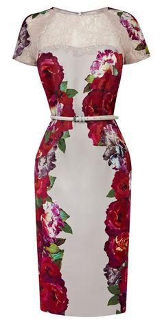 Belted floral pencil dress