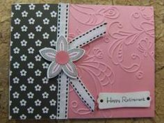 Handmade ~RETIREMENT~ Card EMBOSSED Stampin Up Flower