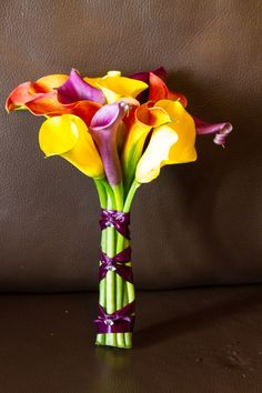 vibrant calla lily bridal bouquet