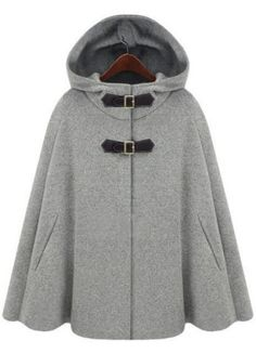 Grey Woolen Cape Coat