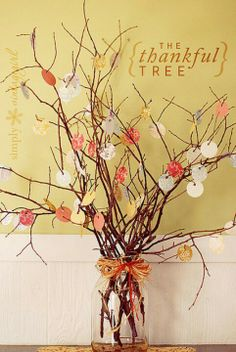 You could have each one of your guests write something they are thankful for && put it up on the tree when they arrive for dinner. Then maybe before you eat the host/hostess could say each one. (Oh yeah, they would be anonymous of course) #thanksgiving #homedecor #easy