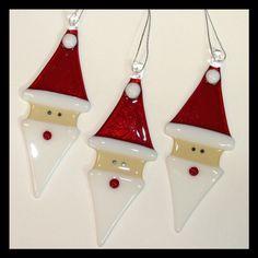 Santa glass ornaments