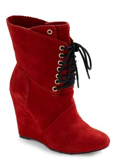 Betsy Johnson cherry red suede boots.  Le sigh.
