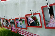 Farm themed birthday party: Picture display. Have each family bring pictures to be displayed