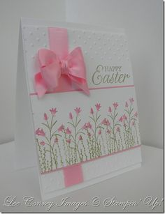I can't take my eyes off that gorgeous pink satin bow, but when I do, I see the lovely garden of pink flowers!  Beautiful handmade Easter card.
