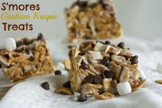 No Bake S'mores Graham Krispie Treats  - these looks so good.