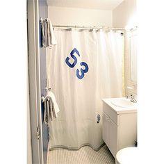 sailcloth shower curtain for nautical bathroom