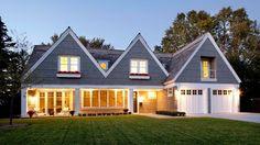 garage addition. peaked rooflines.