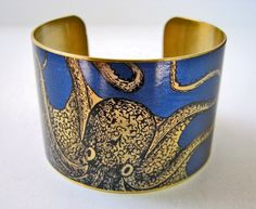 cuff bracelet CURIOUS OCTOPUS Vintage style brass (As seen in 'Lady Gaga: Inside The Outside' )
