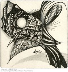 "Masked © 2012 by Sharla R. Hicks, CZT, teaching at SoftExpressions.com in Anaheim CA. 3.5"" Zentangle tile, Micron Pigma Pen, Graphite via Flickr"