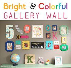 colorful gallery wall, colorful wall frames, diy wall decor colorful, kid art, colorful playroom