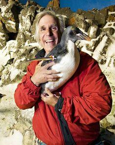 Henry Winkler and a penguin