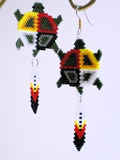 Native American Brick Stitch Patterns | Medicine Turtle Earrings, Native American Inspired, brick stitch ...