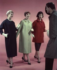 A trio of single hued, lovely coats from 1958. #vintage #1950s #fashion