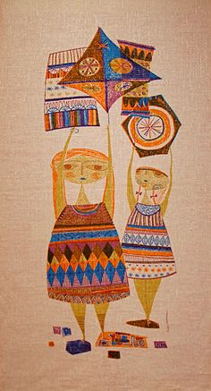 """Oh, thank you, Evelyn!  Evelyn Ackerman """"Kites"""" Silk screened tapestry 1958"""