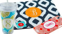 Custom Monogrammed Accessories. Phone cases, mouse pads, tumblers and key chains.