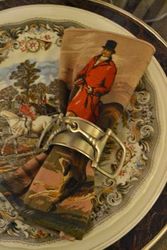 table settings, hunt scene, the hunt, equestrian tablescape, dinner time, napkin ring, equestrian table setting, tabl decor, english countryside