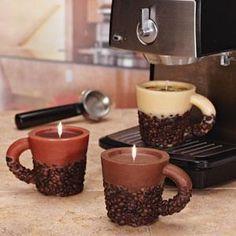 Coffee mug candles with coffee beans