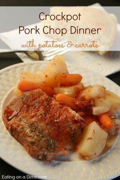 Crockpot Pork Chop Dinner with potatoes and carrots is so easy to make - everything is tossed into the crockpot