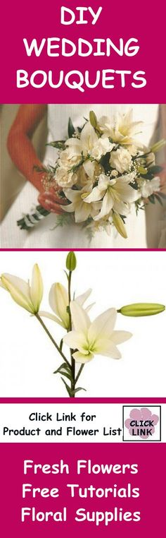 http://www.wedding-flowers-and-reception-ideas.com/white-asiatic-lily-bridal-bouquet.html  - Gorgeous mock hand tie with Asiatic Lilies, spray roses and freesia.