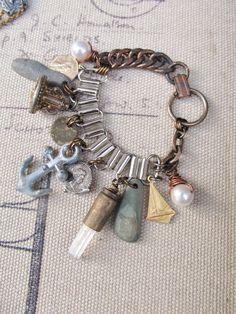 Nautical Charm Bracelet Beach Jewelry by daniellerosebean on Etsy, $68.00