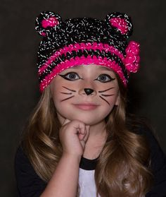 Glam Black Cat Hat Free Crochet Pattern from Red Heart Yarns