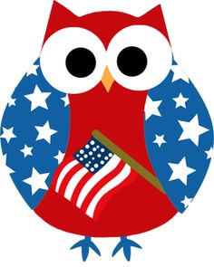 Happy 4th of July owl (illustrator unknown)