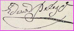 """Signature of Edward Pedigo.  My Revolutionary Ancester  """"Grandsire"""" Ned."""