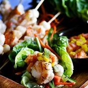 Cups, Food, Tropical Fruits, Salsa Recipe, Shrimp Lettuce, Mango Salsa ...