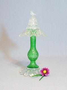 Vintage green glass garden art totem by ReCreationsInGlass on Etsy, $39.00