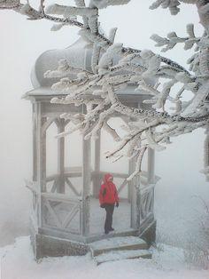 Gazebo on a snowy night