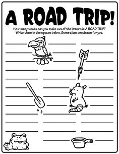 How many words can you make out of ROAD TRIP? - printable