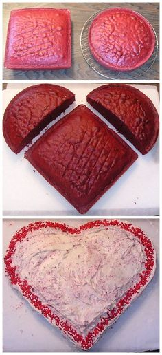 How to Make a Heart Shaped Valentines Day Cake.  Probably won't use the how-to, but I DO want to remember this idea! Valentine Day, Heart Cake Ideas, Cakes, Bake, Heart Shape, Valentines Day Cake, Shape Cake, Parti, Shape Valentin