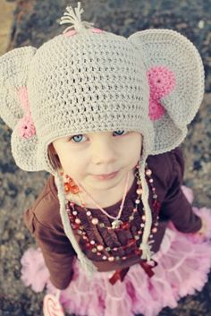 adorable elephant crochet hat for kids!