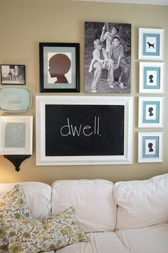 Chalkboard decor...on a family photo wall!
