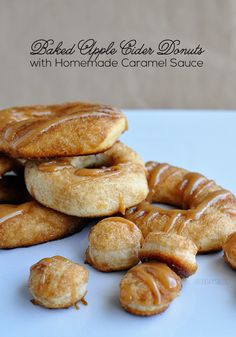 Apple Cider Baked Donuts with Homemade Caramel Sauce